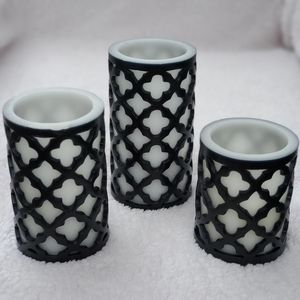 Flameless Candles with Moroccan Design - Set of 3